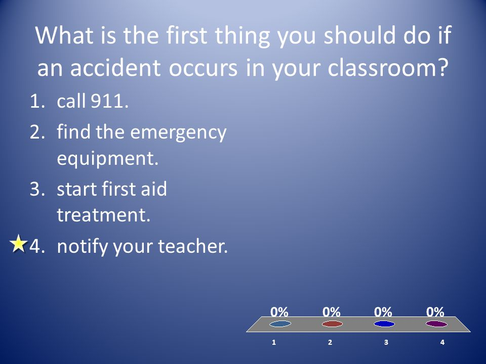 What is the first thing you should do if an accident occurs in your classroom? 1.call 911. 2.find the emergency equipment. 3.start first aid treatment