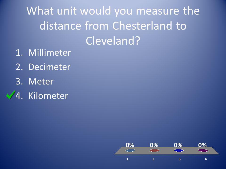 What unit would you measure the distance from Chesterland to Cleveland? 1.Millimeter 2.Decimeter 3.Meter 4.Kilometer