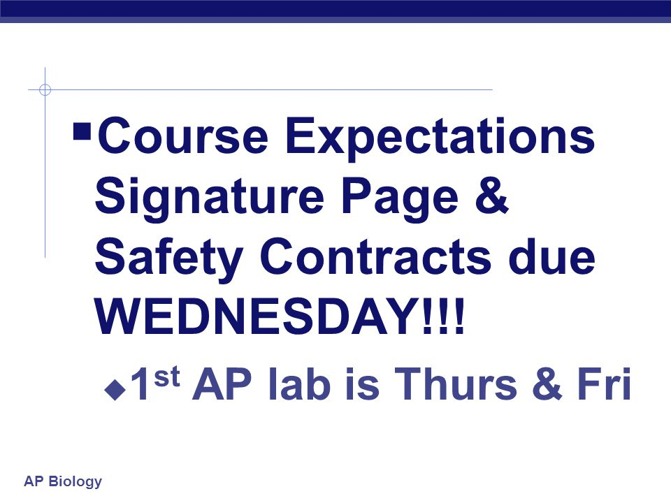AP Biology  Course Expectations Signature Page & Safety Contracts due WEDNESDAY!!.