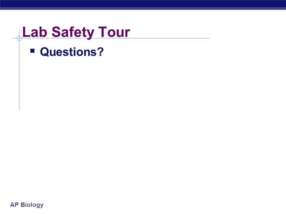 AP Biology Lab Safety Tour  Questions?