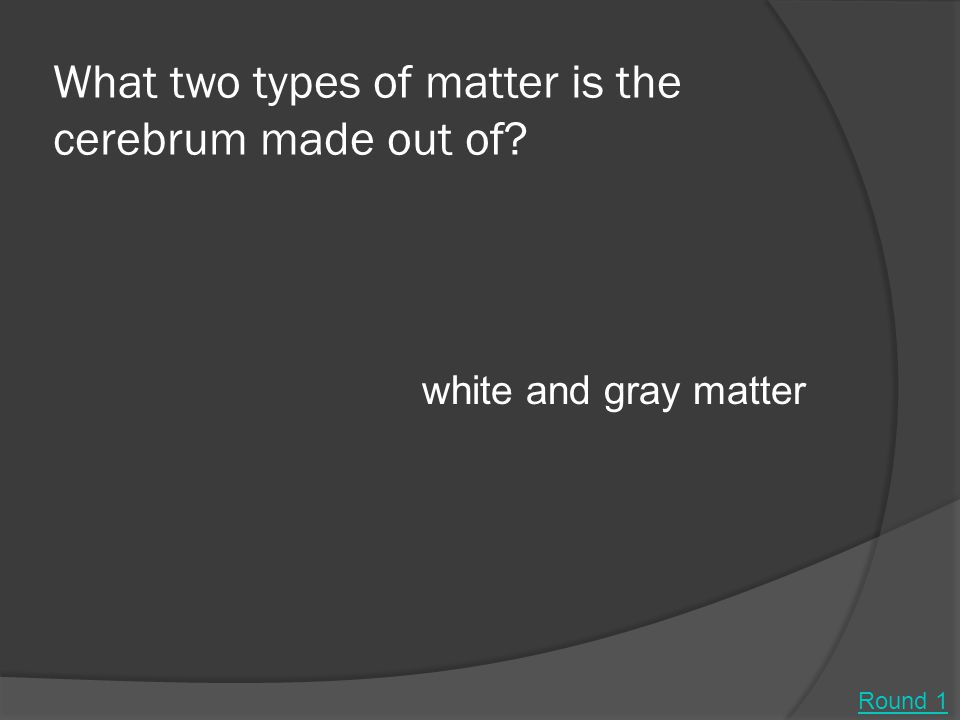 What two types of matter is the cerebrum made out of? white and gray matter Round 1
