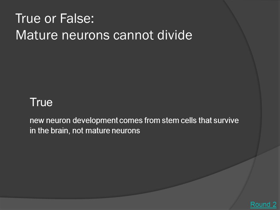 True or False: Mature neurons cannot divide True new neuron development comes from stem cells that survive in the brain, not mature neurons Round 2