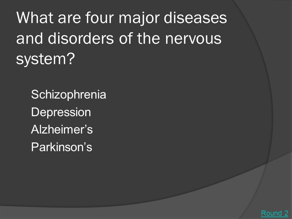What are four major diseases and disorders of the nervous system.