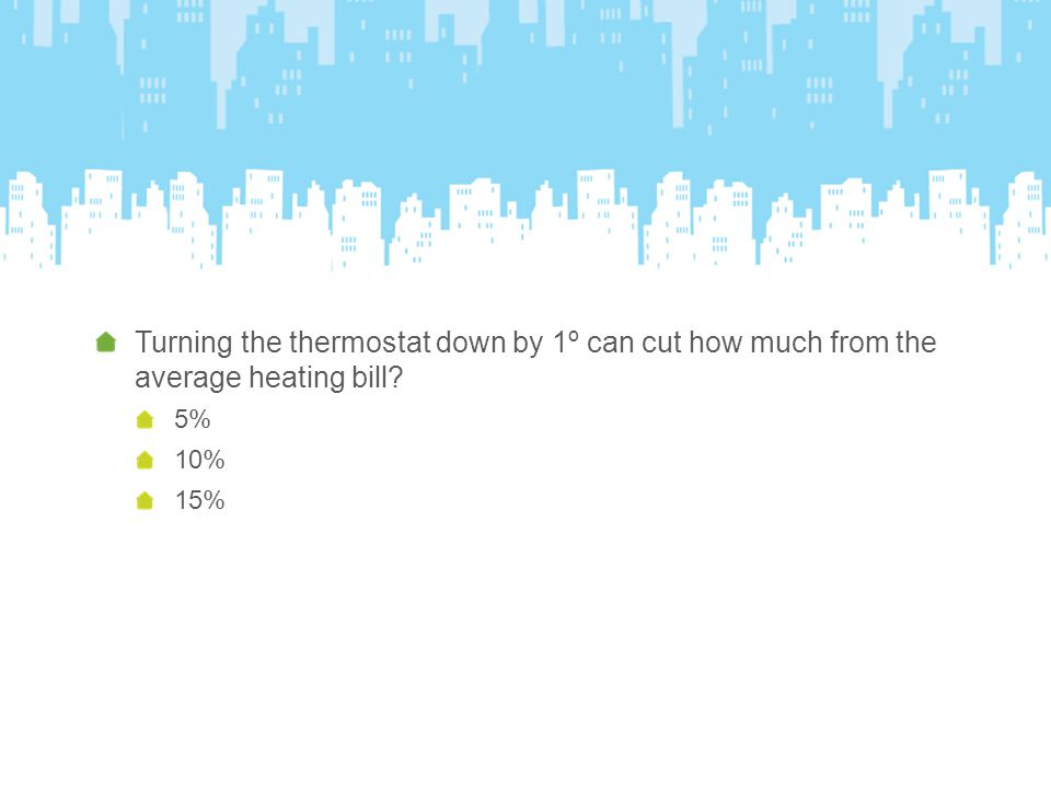 Turning the thermostat down by 1º can cut how much from the average heating bill 5% 10% 15%