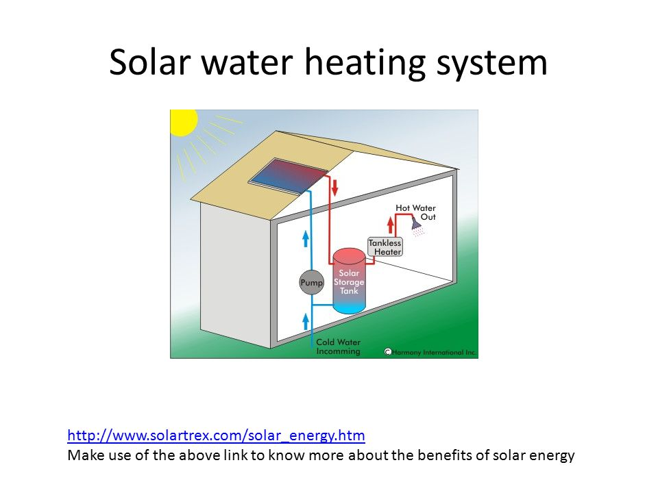 Solar water heating system http://www.solartrex.com/solar_energy.htm Make use of the above link to know more about the benefits of solar energy