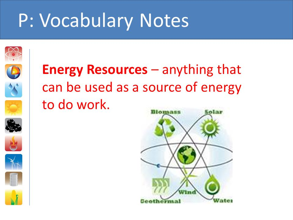 Energy Conservation – management of energy use through insulation, increasing energy frequency, and changes in patterns of use.