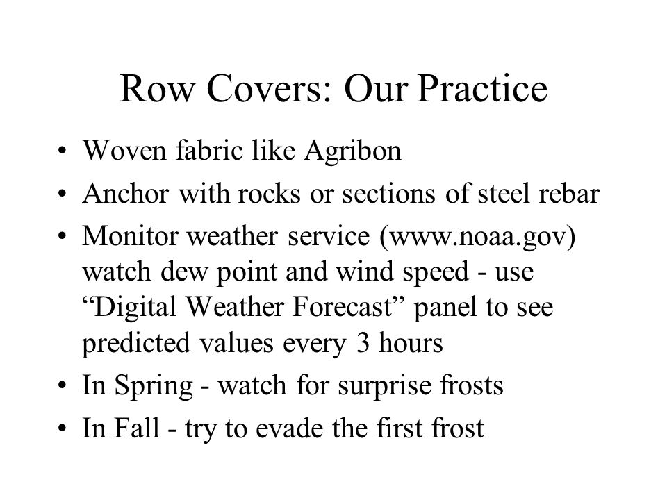 Row Covers: Our Practice Woven fabric like Agribon Anchor with rocks or sections of steel rebar Monitor weather service (www.noaa.gov) watch dew point and wind speed - use Digital Weather Forecast panel to see predicted values every 3 hours In Spring - watch for surprise frosts In Fall - try to evade the first frost