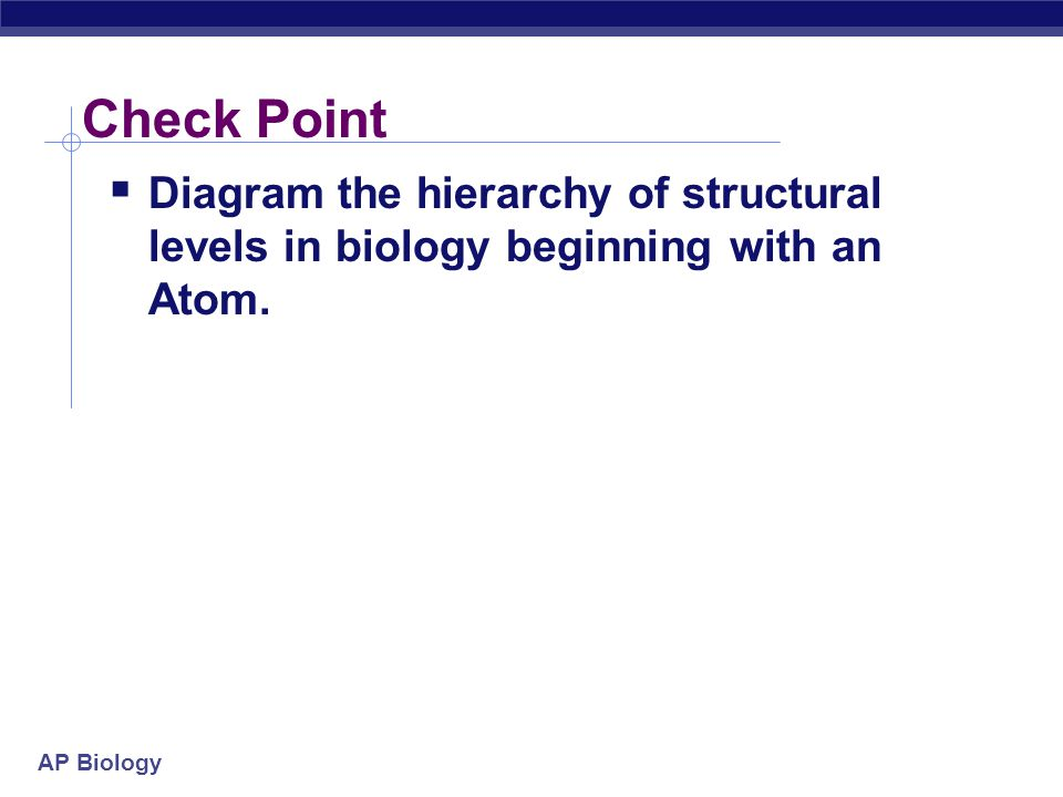 AP Biology Form follows function  The alignment of structure & function is seen at all levels of biology  Levels of organization animation Levels of