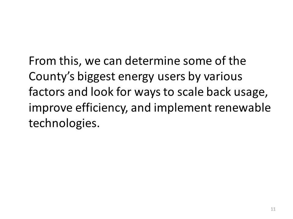 From this, we can determine some of the County's biggest energy users by various factors and look for ways to scale back usage, improve efficiency, and implement renewable technologies.