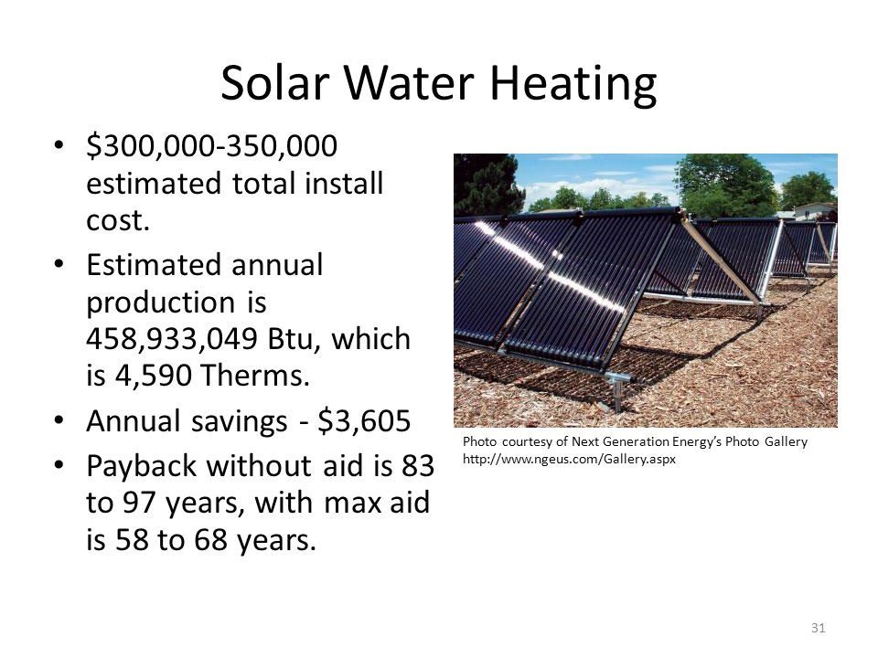 Solar Water Heating $300,000-350,000 estimated total install cost.