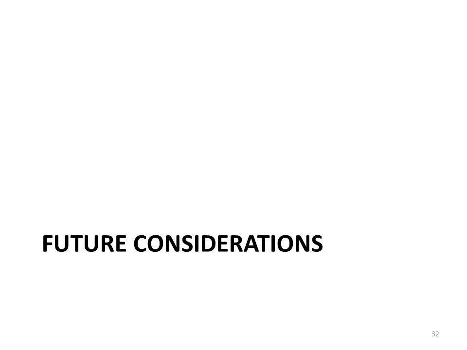 FUTURE CONSIDERATIONS 32
