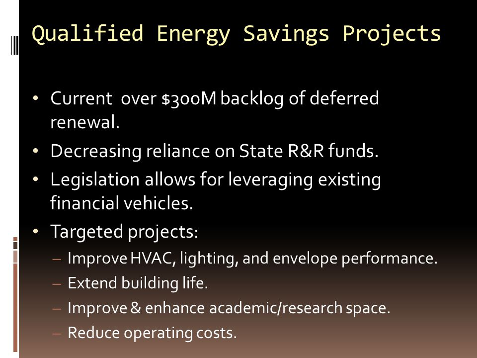 Qualified Energy Savings Projects Current over $300M backlog of deferred renewal.
