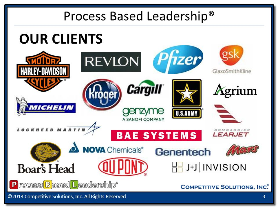 ©2014 Competitive Solutions, Inc. All Rights Reserved3 OUR CLIENTS Process Based Leadership®