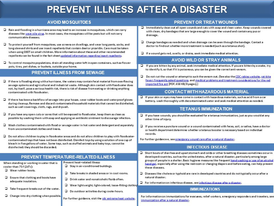 PREVENT ILLNESS AFTER A DISASTER AVOID MOSQUITOES PREVENT ILLNESS FROM SEWAGE PREVENT TEMPERATURE-RELATED ILLNESS PREVENT OR TREAT WOUNDS AVOID WILD OR STRAY ANIMALS  Rain and flooding in a hurricane area may lead to an increase in mosquitoes, which can carry diseases like west nile virus.