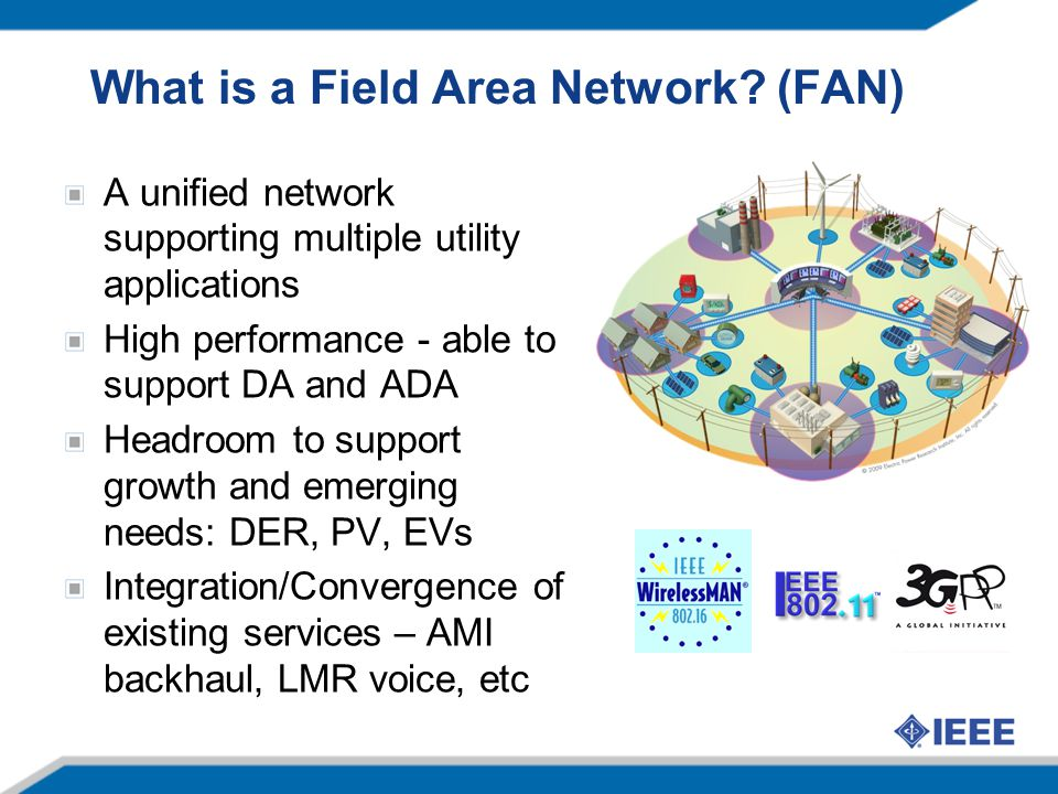 What is a Field Area Network? (FAN) A unified network supporting multiple utility applications High performance - able to support DA and ADA Headroom