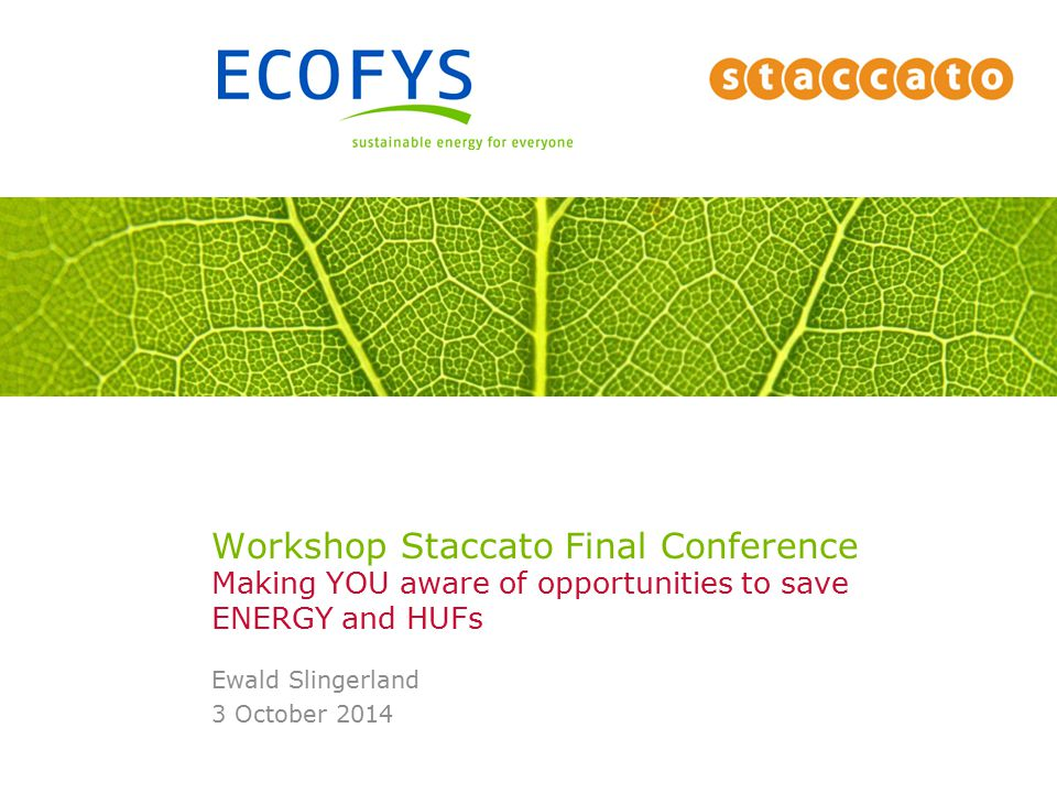 Workshop Staccato Final Conference Making YOU aware of opportunities to save ENERGY and HUFs Ewald Slingerland 3 October 2014
