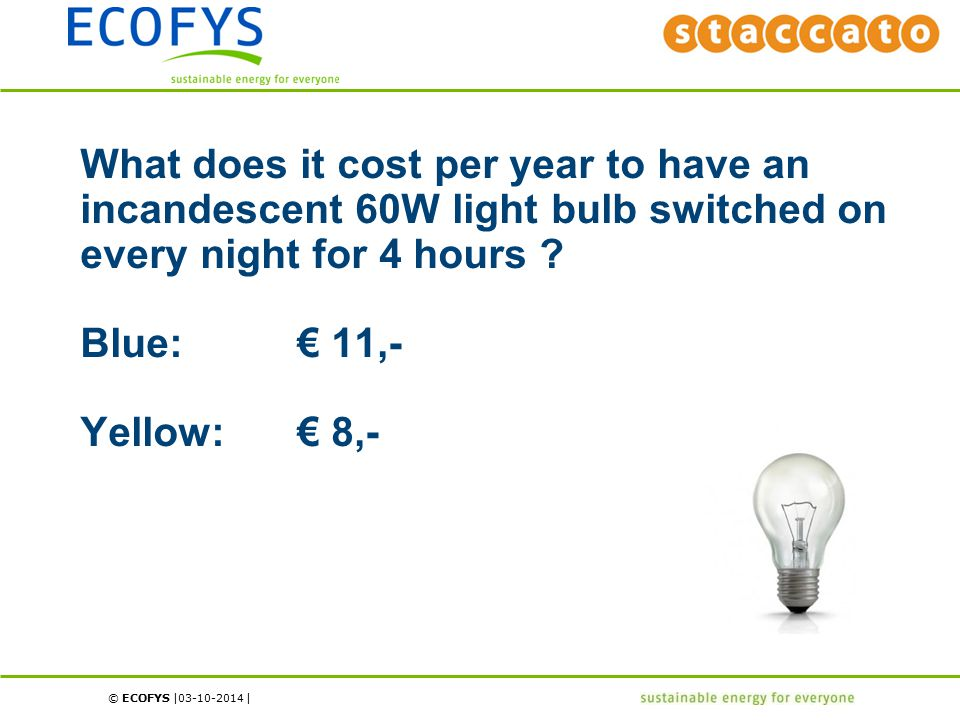 © ECOFYS | | What does it cost per year to have an incandescent 60W light bulb switched on every night for 4 hours ? Blue:€ 11,- Yellow:€ 8,- 03-10-20