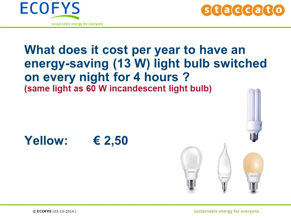 © ECOFYS | | What does it cost per year to have an energy-saving (13 W) light bulb switched on every night for 4 hours .