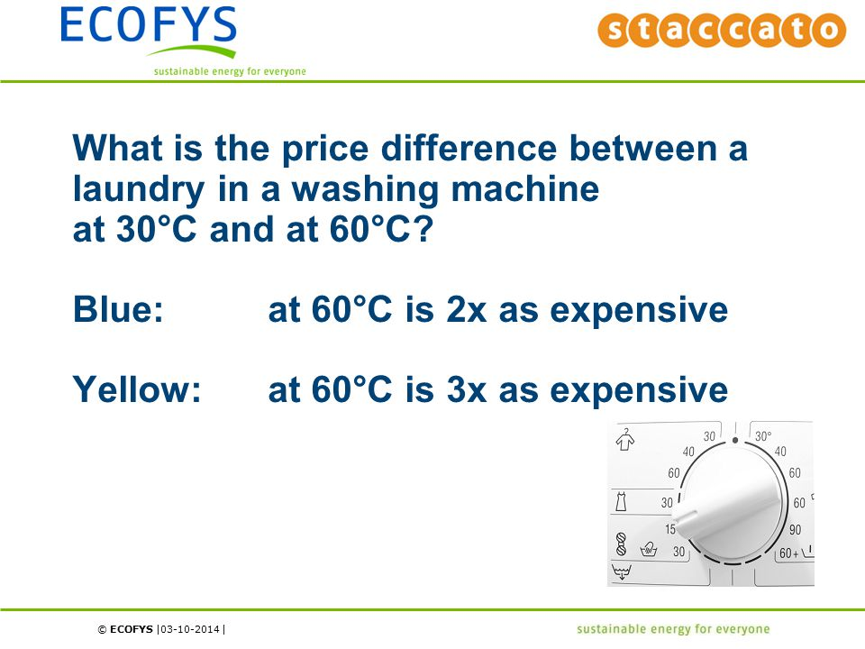 © ECOFYS | | What is the price difference between a laundry in a washing machine at 30°C and at 60°C? Blue:at 60°C is 2x as expensive Yellow:at 60°C i