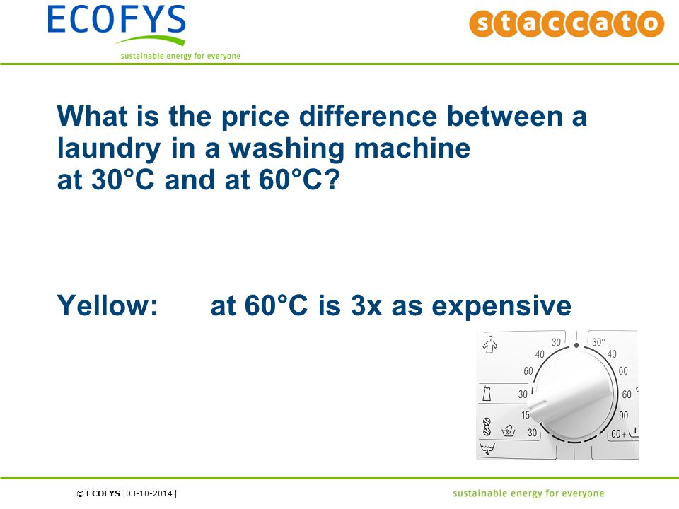 © ECOFYS | | What is the price difference between a laundry in a washing machine at 30°C and at 60°C.