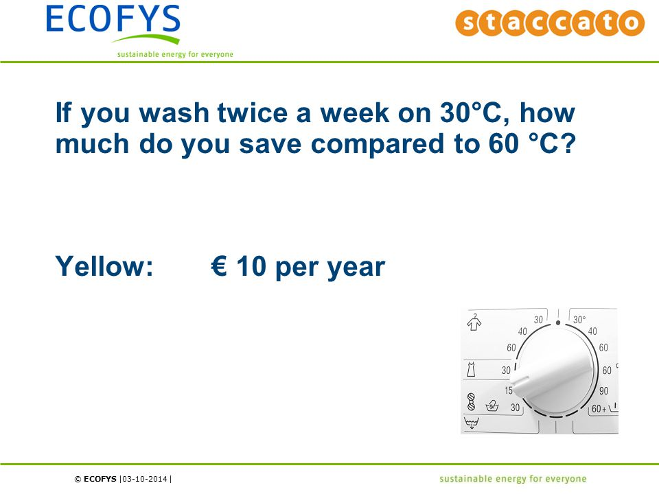 © ECOFYS | | If you wash twice a week on 30°C, how much do you save compared to 60 °C? Yellow: € 10 per year 03-10-2014