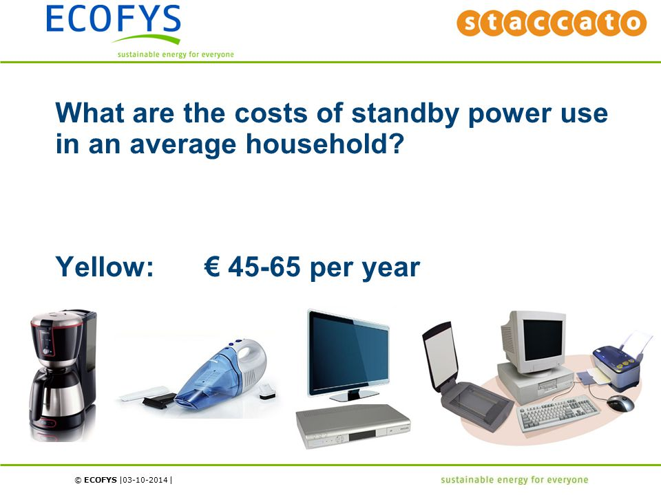 © ECOFYS | | What are the costs of standby power use in an average household? Yellow:€ 45-65 per year 03-10-2014