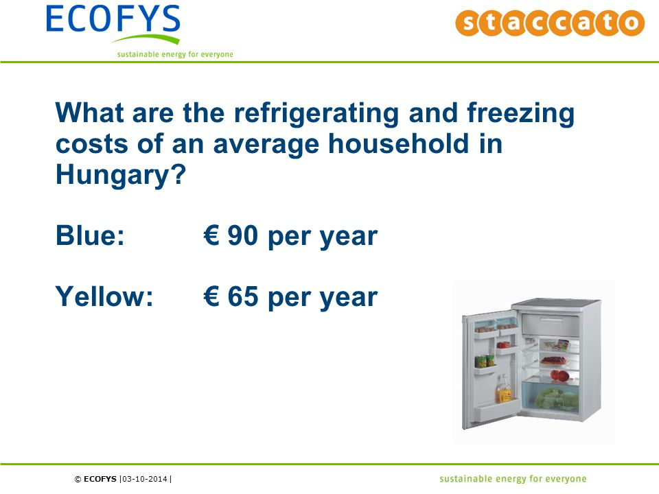 © ECOFYS | | What are the refrigerating and freezing costs of an average household in Hungary? Blue:€ 90 per year Yellow:€ 65 per year 03-10-2014