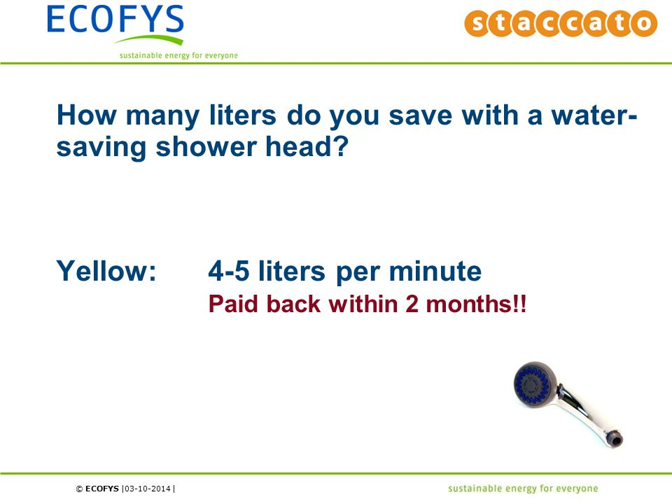 © ECOFYS | | 03-10-2014 How many liters do you save with a water- saving shower head.