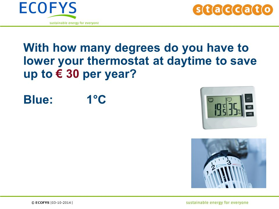 © ECOFYS | | With how many degrees do you have to lower your thermostat at daytime to save up to € 30 per year.