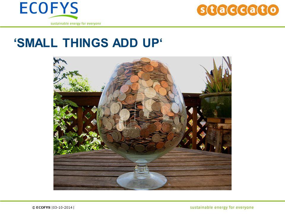 © ECOFYS | | 'SMALL THINGS ADD UP' 03-10-2014