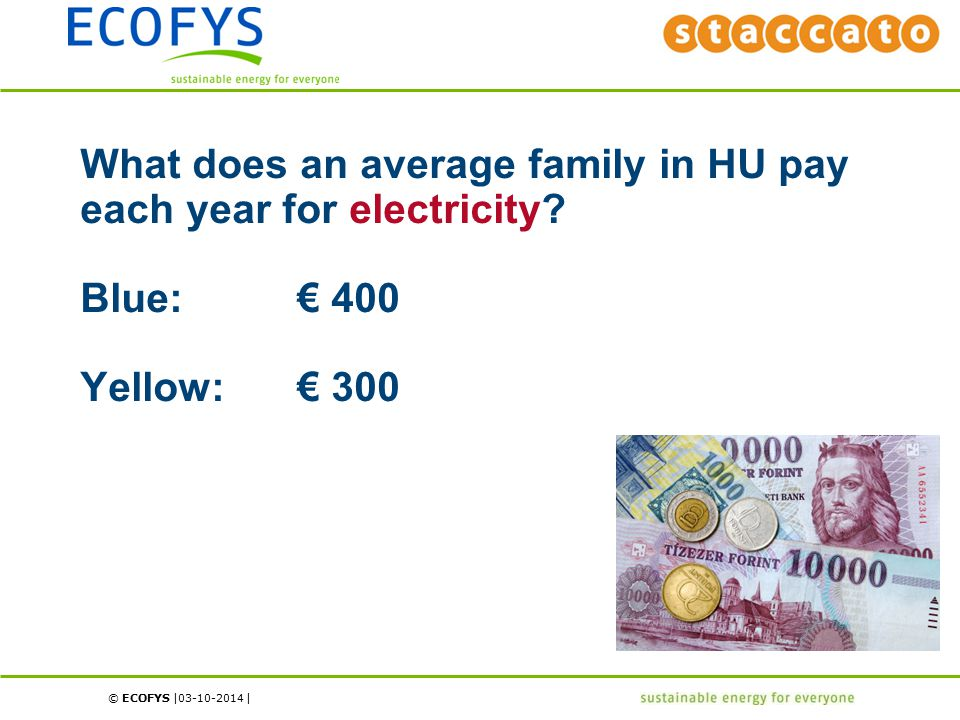 © ECOFYS | | What does an average family in HU pay each year for electricity? Blue:€ 400 Yellow:€ 300 03-10-2014