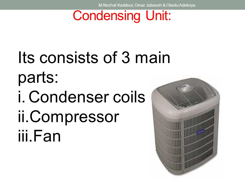 Condensing Unit: M.Nezhat Kaddour, Omar Jabaseh & Olaolu Adekoya Its consists of 3 main parts: i.Condenser coils ii.Compressor iii.Fan