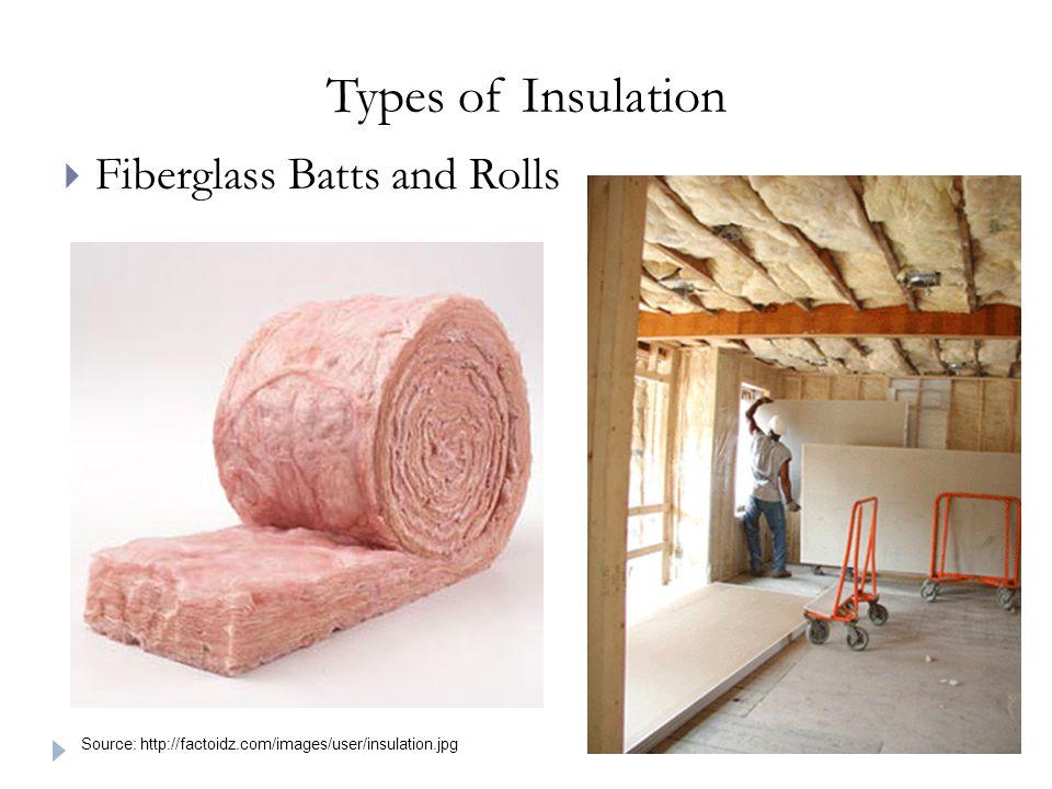 Types of Insulation  Fiberglass Batts and Rolls Source: http://factoidz.com/images/user/insulation.jpg