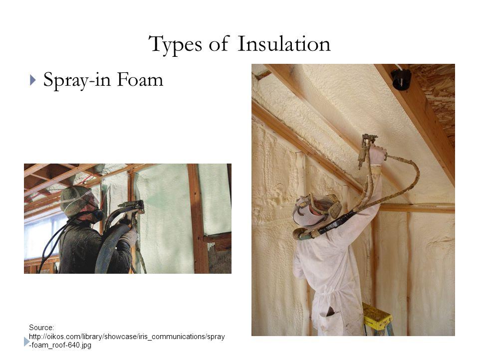 Types of Insulation  Spray-in Foam Source: http://oikos.com/library/showcase/iris_communications/spray -foam_roof-640.jpg