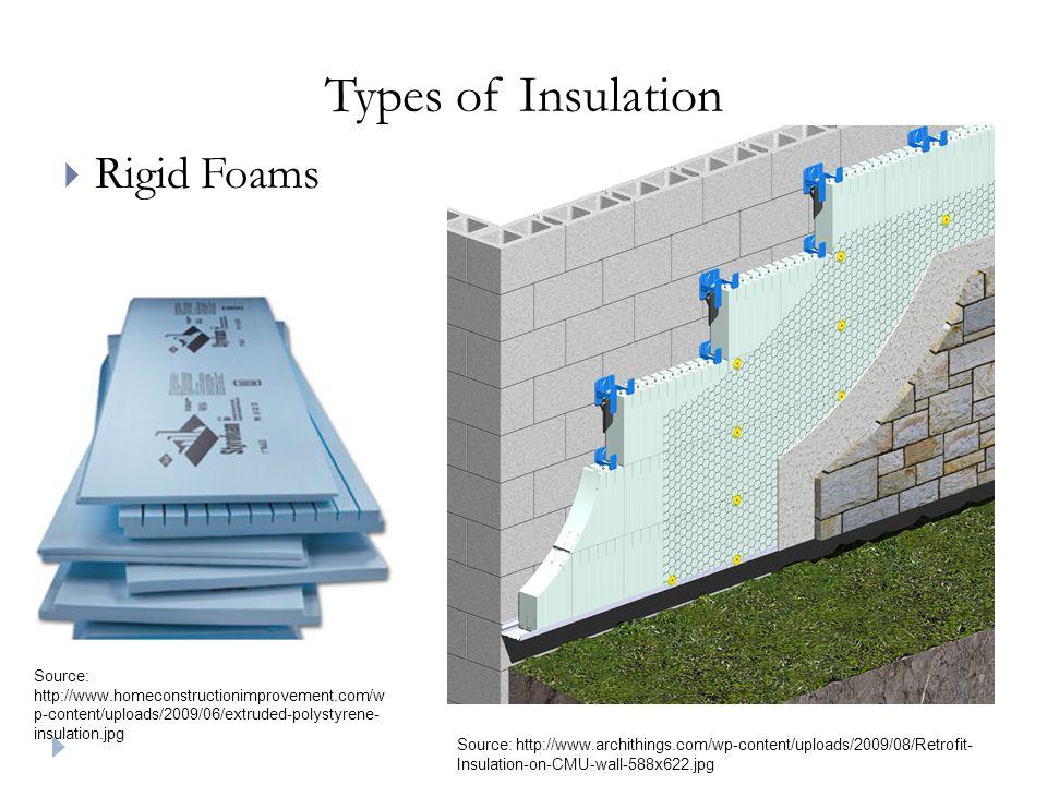 Types of Insulation  Rigid Foams Source: http://www.homeconstructionimprovement.com/w p-content/uploads/2009/06/extruded-polystyrene- insulation.jpg Source: http://www.archithings.com/wp-content/uploads/2009/08/Retrofit- Insulation-on-CMU-wall-588x622.jpg
