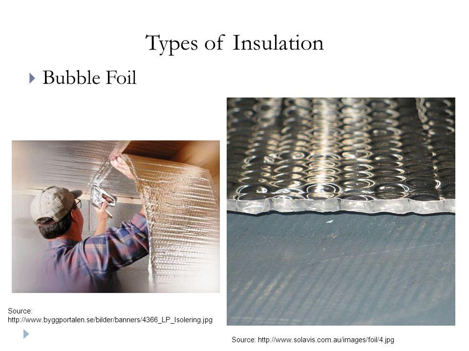 Types of Insulation  Bubble Foil Source: http://www.byggportalen.se/bilder/banners/4366_LP_Isolering.jpg Source: http://www.solavis.com.au/images/foil/4.jpg