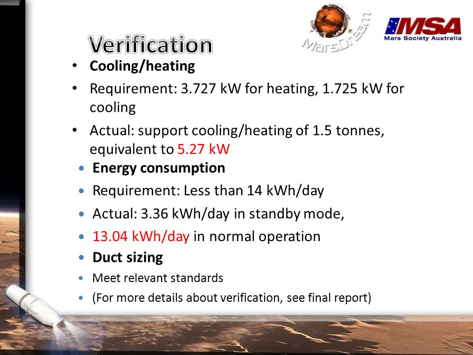 Cooling/heating Requirement: 3.727 kW for heating, 1.725 kW for cooling Actual: support cooling/heating of 1.5 tonnes, equivalent to 5.27 kW Energy consumption Requirement: Less than 14 kWh/day Actual: 3.36 kWh/day in standby mode, 13.04 kWh/day in normal operation Duct sizing Meet relevant standards (For more details about verification, see final report)