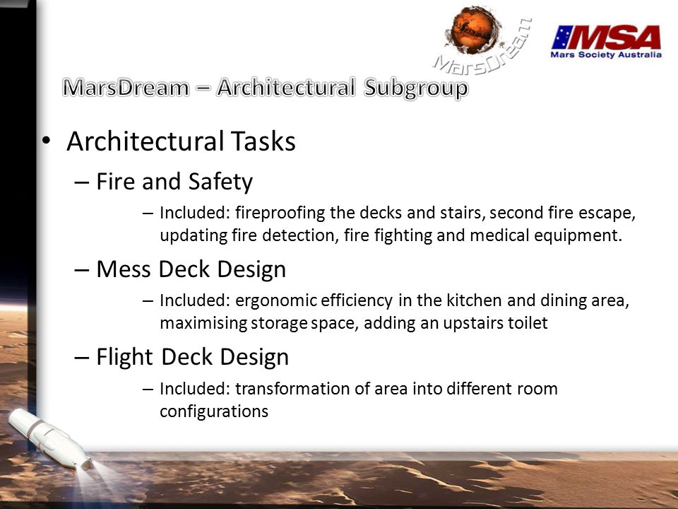 Today's Focus (CORE): – Fireproof Stairs – Mess and Flight Deck – Room Configurations – Briefing and conference – Entertainment – Quiet working – Systems control