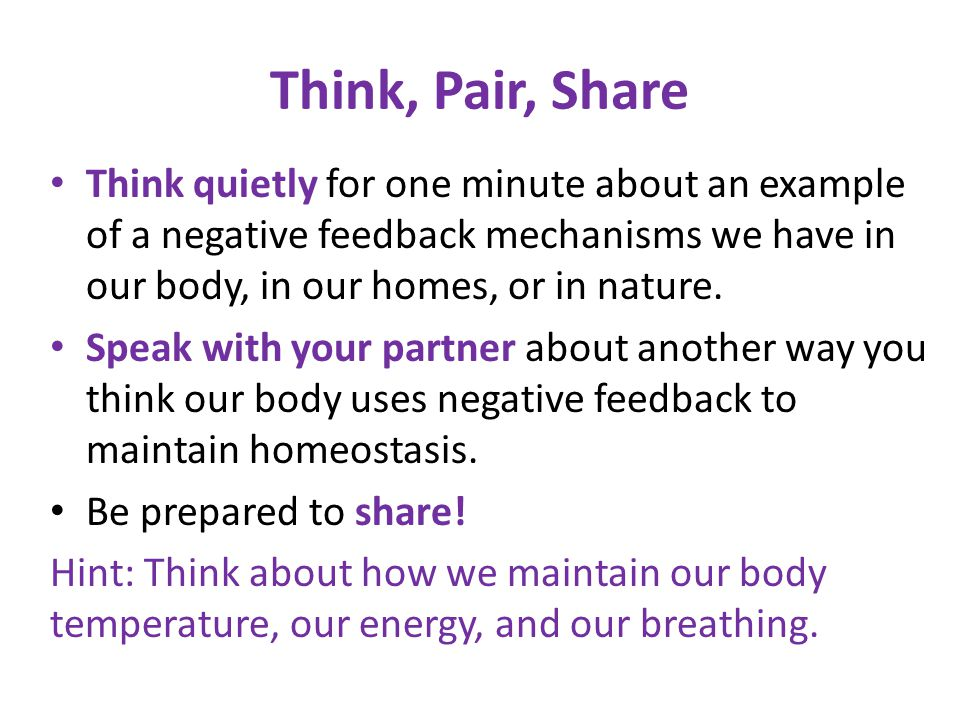 Think, Pair, Share Think quietly for one minute about an example of a negative feedback mechanisms we have in our body, in our homes, or in nature. Sp