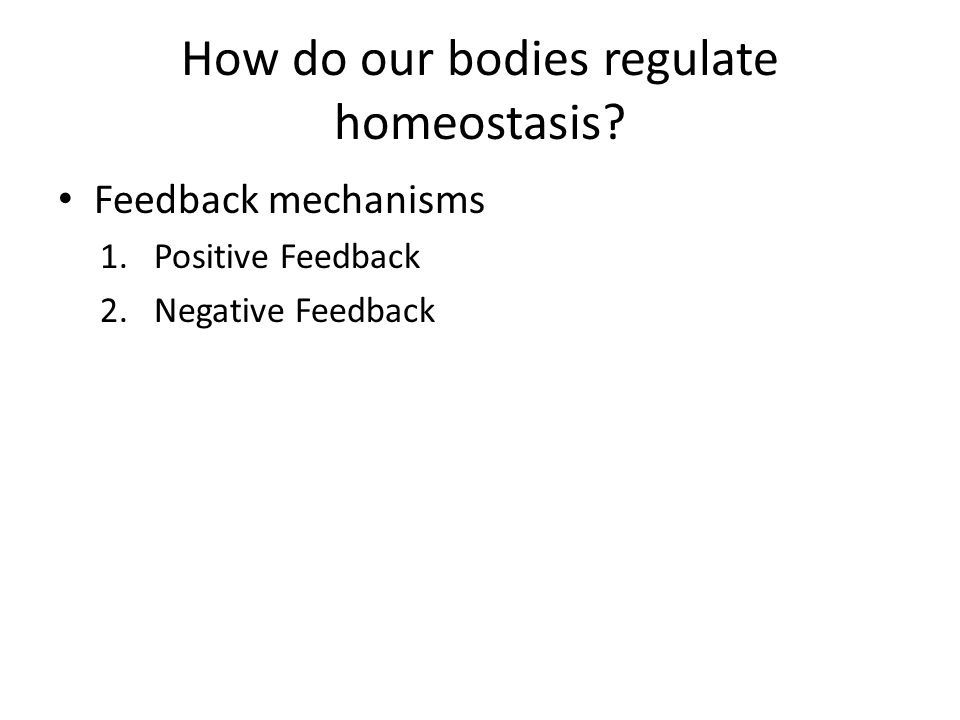 How do our bodies regulate homeostasis? Feedback mechanisms 1.Positive Feedback 2.Negative Feedback
