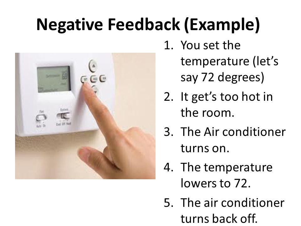 Negative Feedback (Example) 1.You set the temperature (let's say 72 degrees) 2.It get's too hot in the room.