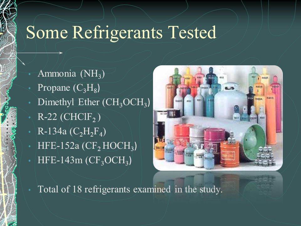 Some Refrigerants Tested Ammonia (NH 3 ) Propane (C 3 H 8 ) Dimethyl Ether (CH 3 OCH 3 ) R-22 (CHClF 2 ) R-134a (C 2 H 2 F 4 ) HFE-152a (CF 2 HOCH 3 )