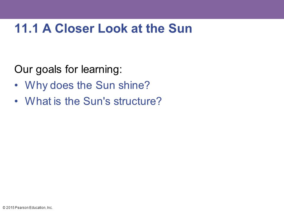 11.1 A Closer Look at the Sun Our goals for learning: Why does the Sun shine? What is the Sun's structure? © 2015 Pearson Education, Inc.