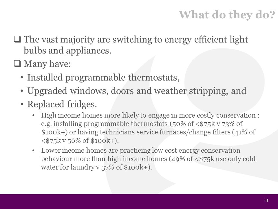 What do they do. The vast majority are switching to energy efficient light bulbs and appliances.