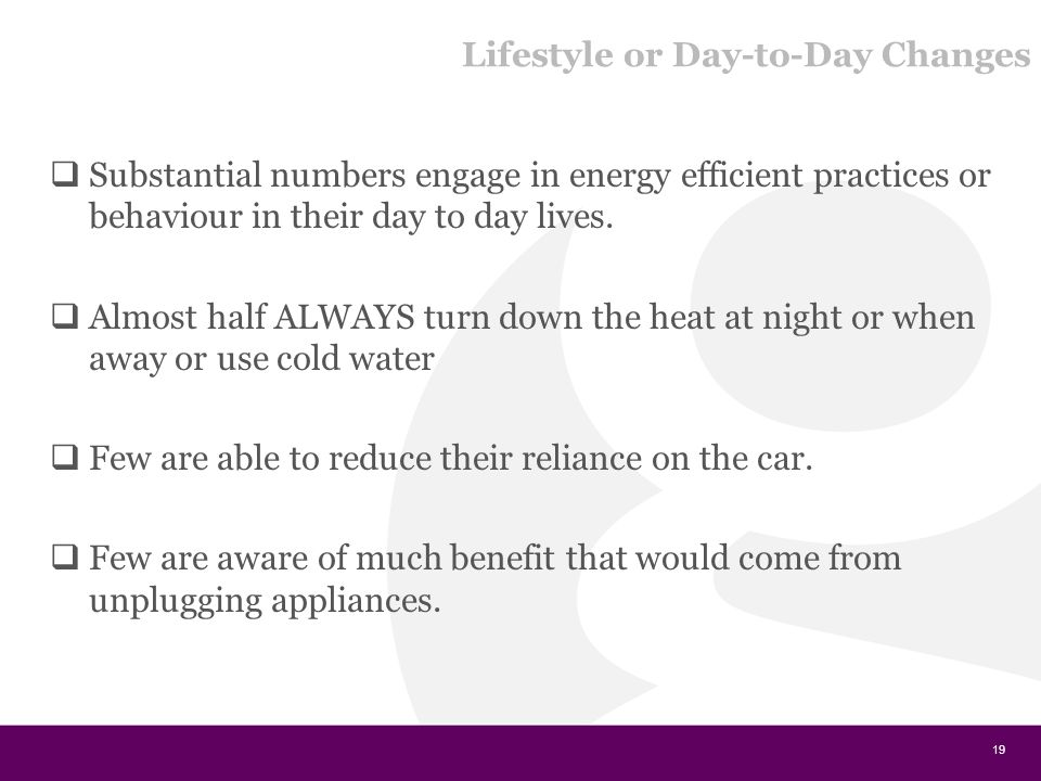 Lifestyle or Day-to-Day Changes  Substantial numbers engage in energy efficient practices or behaviour in their day to day lives.