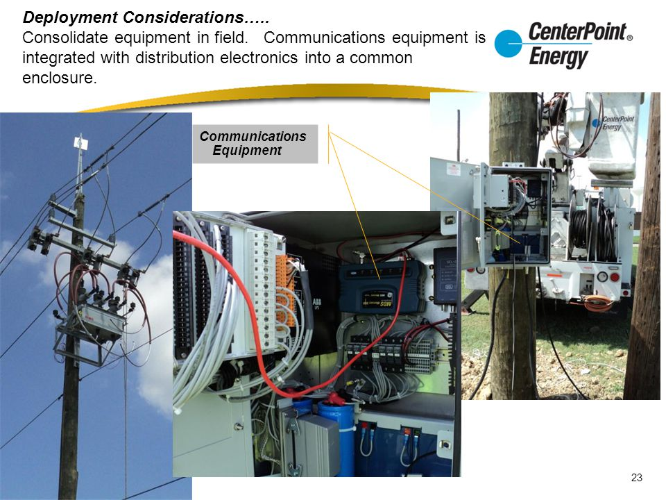 Deployment Considerations….. Consolidate equipment in field.