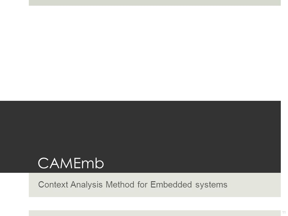 CAMEmb Context Analysis Method for Embedded systems 11