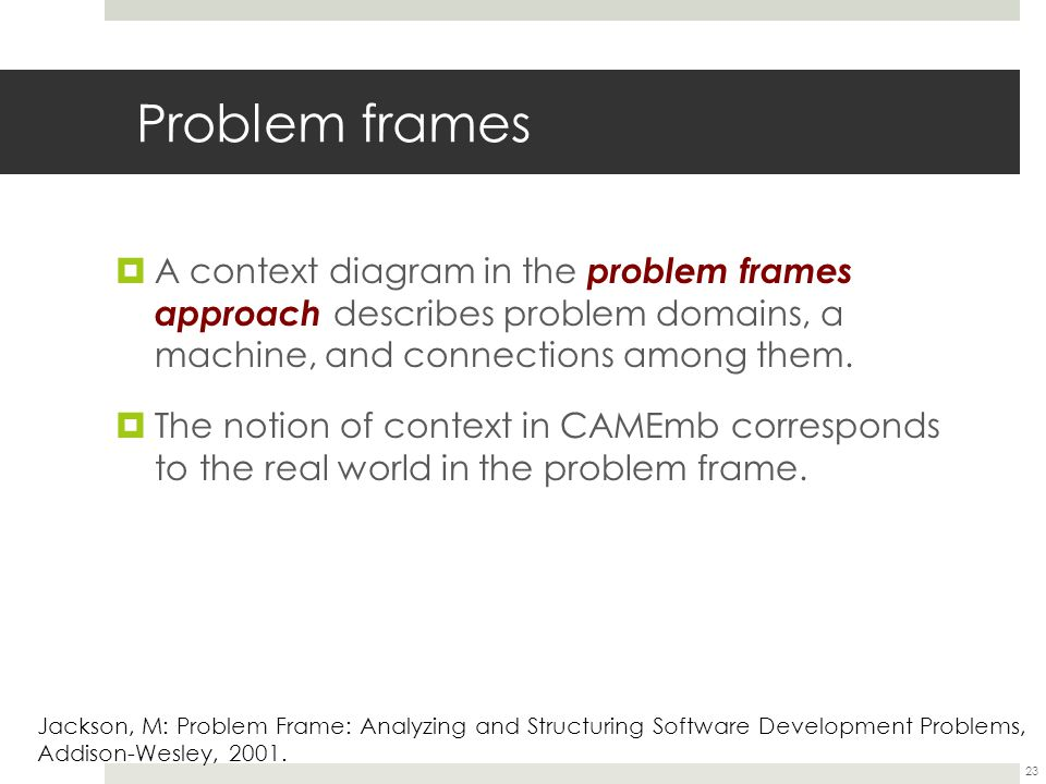 Problem frames  A context diagram in the problem frames approach describes problem domains, a machine, and connections among them.