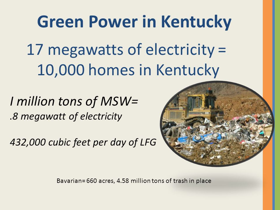 Green Power in Kentucky 17 megawatts of electricity = 10,000 homes in Kentucky I million tons of MSW=.8 megawatt of electricity 432,000 cubic feet per day of LFG Bavarian= 660 acres, 4.58 million tons of trash in place
