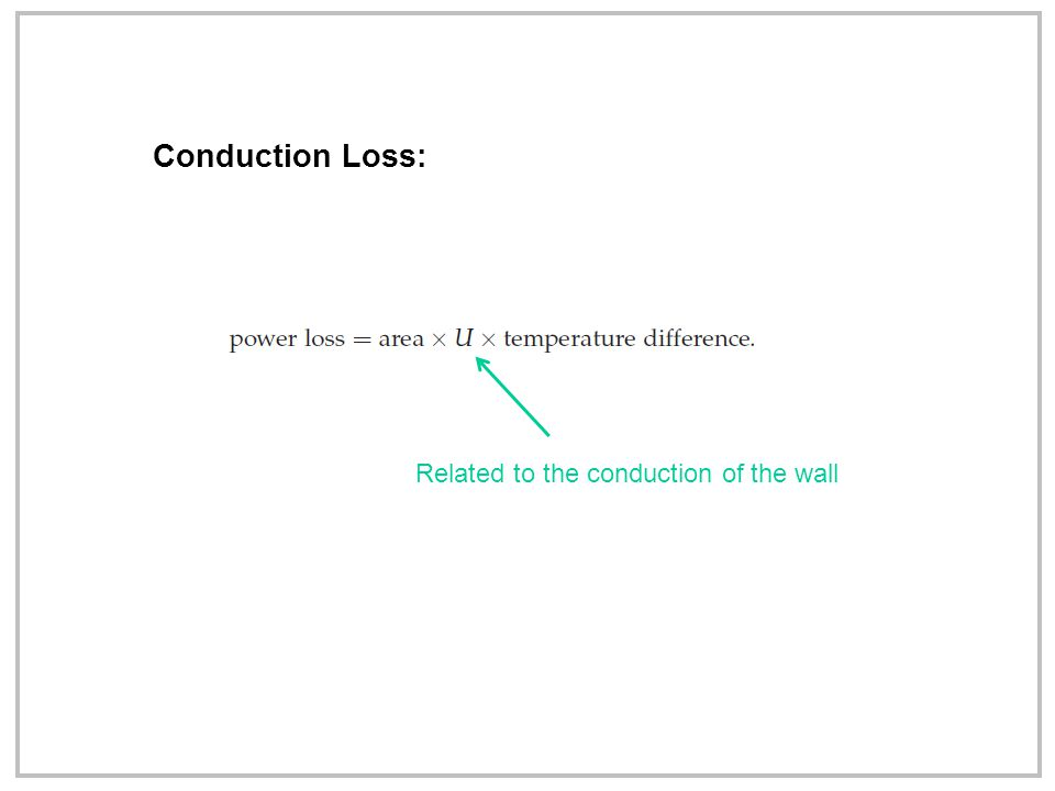 Conduction Loss: Related to the conduction of the wall
